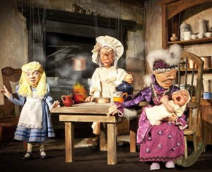 Alice with Cook and Duchess - John Parkinson upfront puppet theatre