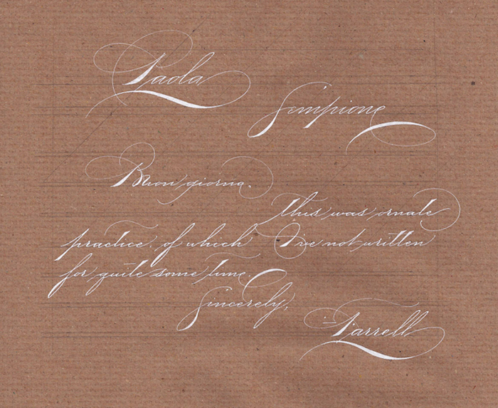 Higham hall james farrell calligraphy examples letter